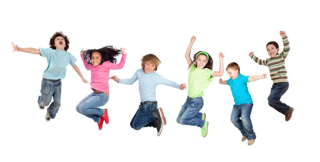 Kinderen springen foto roze